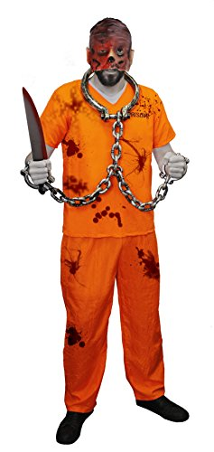 ILOVEFANCYDRESS GRUSELIGES Zombie STRÄFLINGS KOSTÜM VERKLEIDUNG MIT Maske= Aufschrift Prisoner AUF VORDER +RÜCKSEITE= Latex VERBRANTES Gesicht Maske -XSmall