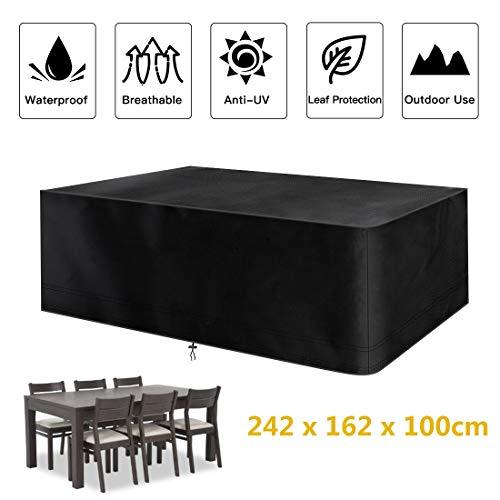 fayttoli copertura per mobili da giardino, 420d rettangolare impermeabile telo poliestere per mobili esterni tavolo e sedie ,242 x 162 x 100 cm nero