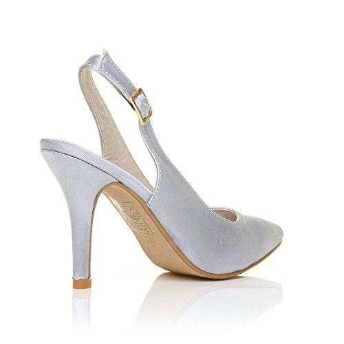 ShuWish UK - Chaussure Femme Satin Talon Aiguille Haut Argent satin argent