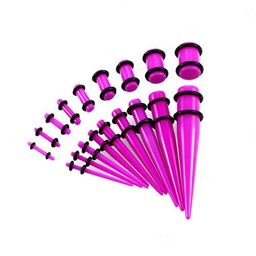 WANGGANG 18 Stück ohrdehnungs-Kit, 14g-00g mit Acryl-verjüngt und Stecker + Silikon-Tunnel-Ohrstöpsel Expander setzen Body Piercing Schmuck,Pink