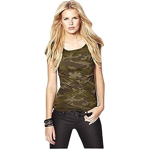 Verde militare Camuffamento Camouflage Camo Stampa Lycra Stretch Knit Tank