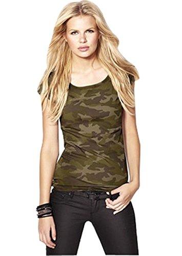 Verde del ejército Camuflaje Camouflage Camo Estampado Lycra Tejido de Punto Tank Tanque Camiseta Sin Mangas Vest Cami Camisola Camiseta de Tirantes Top