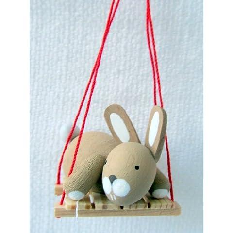 Günter Reichel coniglietto stella, Oster su aria sull'altalena, realizzato a mano, Arte mano opera in Monti Metalliferi,