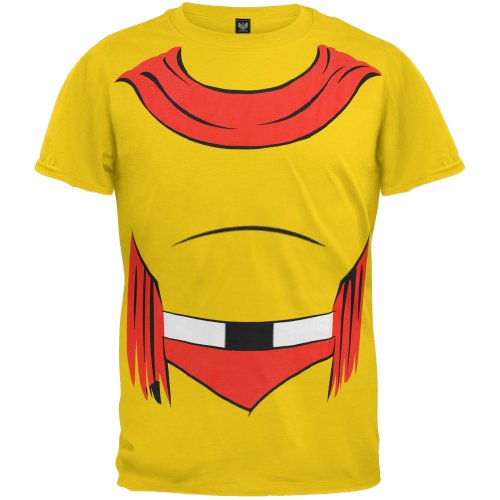 Official Mighty Mouse Costume Shirt. A low cost alternative to the full outfit, which is available in sizes Small, Large or X-Large.