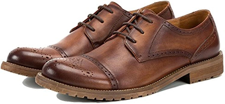 NIUWJ Zapatillas Derby De Cuero Retro para Hombre Zapatillas De Cuero con Cordones Ocasionales De Negocios -