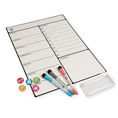 Magnetisches Whiteboard mit Stiften Magnetpins und Haftbox - Weiß 42 x 30 cm - Wochenplaner für Aufgaben und Termine