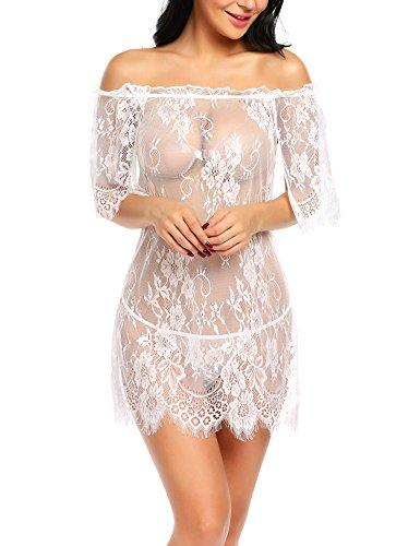ADOME Unterwäsche damen sexy babydoll kleid Aus Schulter Babydoll Spitze Kittel Chemises Mesh Transparentes Kleid Zwei Tragen Styles (Braut-dessous-set)