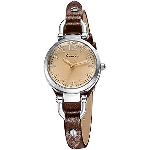 Alienwork Reloj cuarzo pulsera cadena envolver cuarzo vintage elegante Piel de vaca marrón marrón YH.KW545S-03