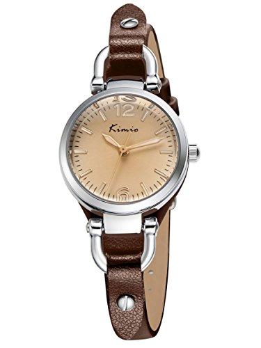 Alienwork Reloj Mujer Relojes Piel de Vaca marrón Analógicos Cuarzo Plata Impermeable Vintage Elegante