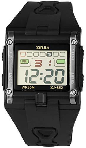 Xinjia Reloj de Hombre Negro Plata Digital Fecha Alarma luz plástico Silicona Cuarzo Reloj de Pulsera