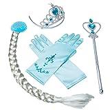 Tumao Princesa Vestir Accesorios conjunto 4Pcs Blue Vestir accesorios Tiara Corona,Varita Mágica,Guantes y Peluca para los niños