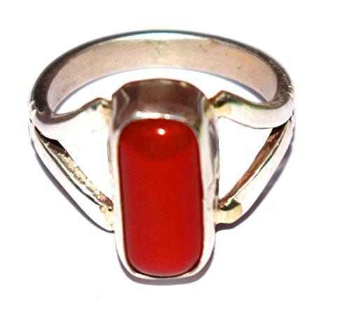 Divya shakti 10.25–10.50carati rosso corallo anello (moonga/munga pietra preziosa anello d' argento) 100% originale, argento, 57 (18.1), colore: red, cod. nv0407rcms-318