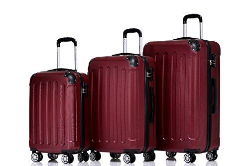 BEIBYE Hartschalen-Koffer Trolley Rollkoffer Reisekoffer Handgepäck 4 Rollen (M-L-XL-Set) (Weinrot, Set)