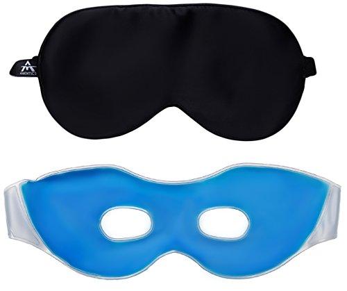 Amentics Schlafmaske Schlafbrille 100% Seide, Gel Wellness-Maske zur Entspannung, Ohrstöpsel & Reisebeutel im Geschenkset für Damen und Herren