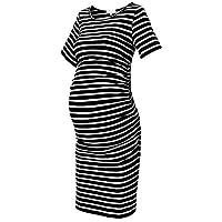 Striped Maternity Dress Short Sleeve Bodycon Ruched Side Knee Length Dress Black Stripe L