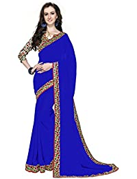 Ara Cruz Women's Georgette Saree With Blouse Piece (Azsr7, Blue, Free Size)