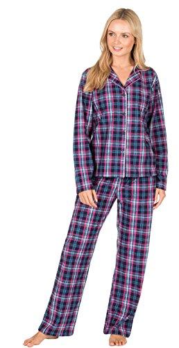 - 41YqzbqvfDL - Ladies Check Print Long Sleeve Fleece Pyjamas Thermal Lounge Wear