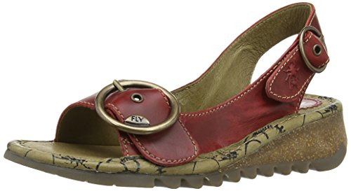 FLY London TRAM Damen Durchgängies Plateau Sandalen Rot (RED 009)