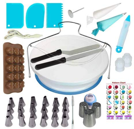 Cake Decorating Equipment - Cake Decorating Kit - Cake Decorating Tools | 74 pc inc Ebook & Russian Piping Nozzle Set | Professional Icing Kit, Rotating Cake Turntable, Icing Spatulas, Piping Bags
