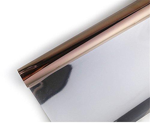 Ommda Fensterfolie Statisch Haftend Sonnenschutz Fensterfolie Blickdicht Von Aussen 90% UV-Schutz bräunen 100x200cm - Braune Streifen Schneiden