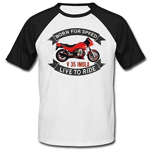 TEESANDENGINES Moto Guzzi V35 Imola Maniche Corte Nere T-Shirt Size Sm