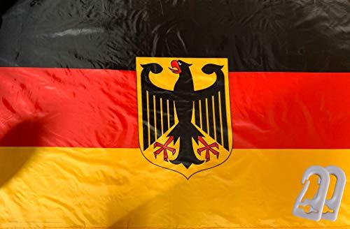 PG Intertrade Deutschlandfahne mit 2 Metallösen, Sehr Gute QUALITÄT, Wetterfeste Heimatsflagge, mit Adler, 90cm x 150cm groß, zum aufhängen gut geeignet mit Zubehör/Aufhängehaken -