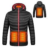 Makasy Giacche riscaldate Giubbotto in Cotone da Uomo Cappotto Esterno da Donna Giacche con Cappuccio con Riscaldamento Elettrico USB Inverno Caldo (M)