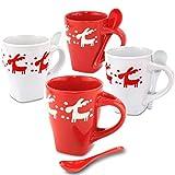 MC-Trend 4 Tassen Becher in schönem Rentier Motiv mit 4 Löffel in rot und weiß - Küche Büro Weihnachten Nikolaus