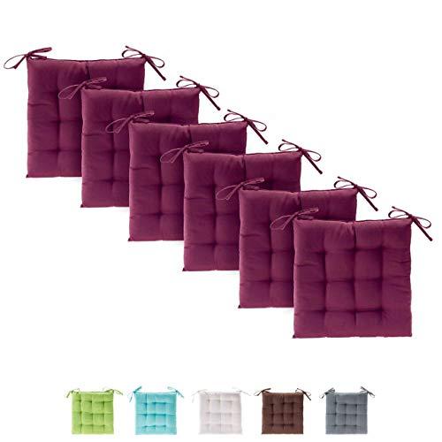 Etérea 6er Set Basic Sitzkissen Stuhlkissen für Innen- und Außenbereich, Bordeaux 40x40x3 cm