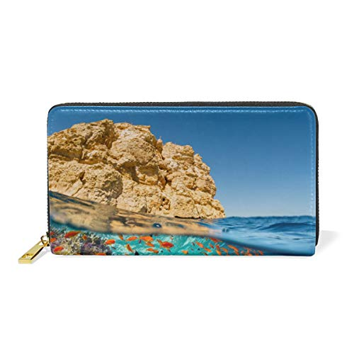 XiangHeFu Frauen Geldbörse Sea Reef Coral Fish Clutch Bag Reißverschluss Leder -