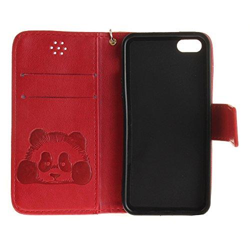 Coque iPhone 6,Coque iPhone 6s,portefeuille cas pu étui en cuir et la prime du titulaire de la carte Marron Rouge foncé