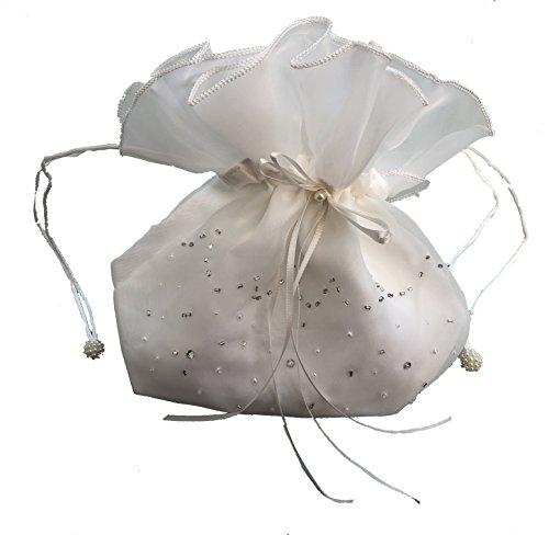 LadyMYP© Brautbeutel, Brauthandtasche: Organza mit gestickter Bordüre aus Perlen & Strass, weiß/ivory Model93 (ivory) (Gestickter Perle)