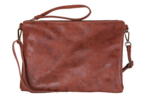 Verarbe Pochette BORDERLINE Italy AIDA Made Braun 100 in Damen Echtleder T11Z0q