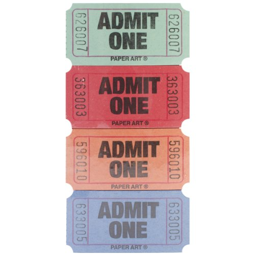 Creative Converting Paper Admit One Tickets 2000 Tickets/Roll-Red, Blue, Orange and Green