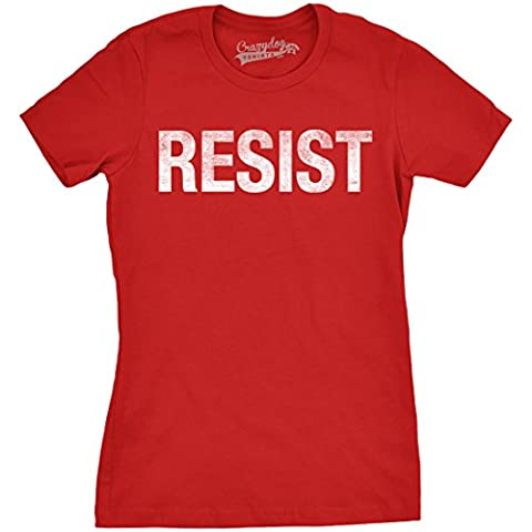 Crazy Dog TShirts - Womens Resist T Shirt United States of America Protest Rebel Political Tee For Ladies (Red) - L - Femme