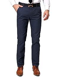 OCHENTA Pantalones chino tapered para hombre Azul oscuro Talla 34
