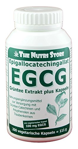 EGCG 100 mg Grüntee Extrakt plus pro Kapsel 200 Stk. - zur Versorgung mit Grüntee-Catechinen und Polyphenolen aus Traubenkernen -