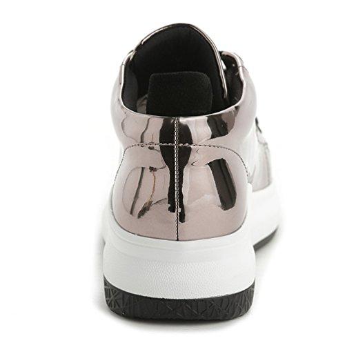 Damen Lackleder Lace-up Plateau Sneaker Gold