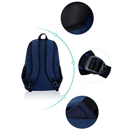 BOZEVON Jungen Mädchen Wasserdichte Rucksack für Kinder Unisex Schulrucksäcke Rucksack für Reisen, Wandern Navy Blau