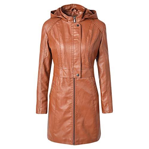 Ansenesna Jacke Damen Leder Gefüttert Wolle Lang Kapuze Elegant Mantel Frauen Winter Warm Outdoor Ubergangsjacke -