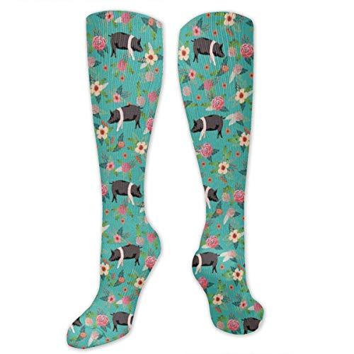 HVCMNVB a hamp Pig mocs Unisex Casual Pattern Crew Socks Long Socks Boy's Girl's 50cm Frau Moc