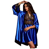 Dorical Damen 2pcs Dessous Die Seide Spitze Robe Kleid Puppe Nachthemd Nachtwäsche Kimono...