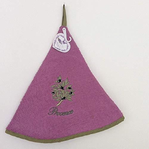 d'Olivier - Torchon Éponge Rond - 100% Coton - Ø65cm de diamètre - Violet fonce, Ø 65 cm, Ronde ()