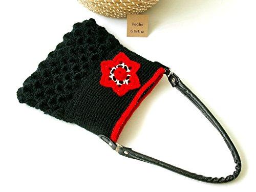 Bolso de hombro ganchillo rojo y negro tejido a crochet hecho a mano cfcff5af2098