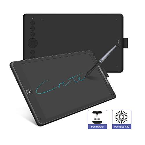 HUION 2019 NEUES Grafiktablett - Inspiroy Ink H320M Innovatives Grafiktablett mit Zwei Funktionen und LCD-Schreibtablett, 8192 Ebenen, Neigefunktion, Android-Unterstützung, mit Schutzhülle (Schwarz)