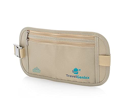 Flache Bauchtasche mit RFID-Blockierung Geldversteck Multifunktional Hüfttasche Laufgürtel Brustbeutel zum