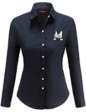 [Patrocinado]Dioufond Camisas Mujer Manga Larga Estampada de Gato con Bolsillo camiseta y Blusa