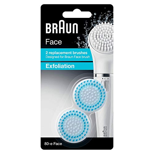 Braun 80-e Face Spazzola Esfoliante per la Pulizia Profonda dei Pori, Set da 2 Pezzi di Ricambio per la Spazzola di Pulizia Braun Face
