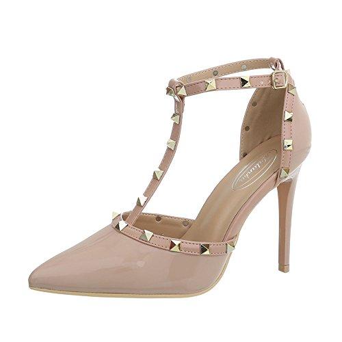 Ital-Design Damenschuhe Pumps High Heel Pumps Synthetik Beige Gr. 39