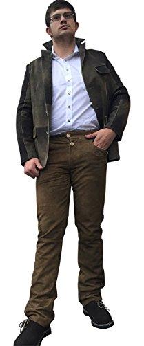 Trachtenhosen Lederhosen Premium BOCKLEDER Echt Leder Dark Braun Herren Hosen (60)